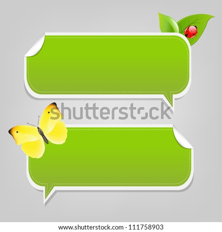 Set Nature Speech Bubble Frames, Isolated On White Background, Vector Illustration