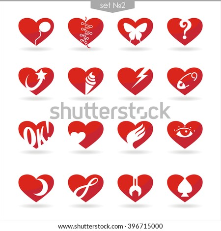 set number two of icons of red hearts with white background and shadow - stock vector