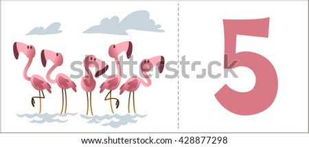 Set numbers for kids: cartoon animals - number 5, flamingo. Vector illustration.