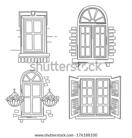 Set o retro windows isolated on stock vector 176188100 shutterstock set o retro windows isolated on white background hand drawing illustration thecheapjerseys Images
