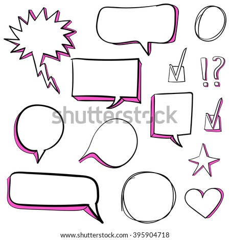 Set od 3d hand drawn icons: check mark, star, heart, speech bubbles. VECTOR. Pink - stock vector