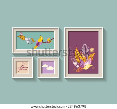 Set of a frame with flowers and bird - stock vector