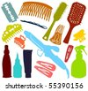 Set of a hair-stylist accessories B - stock photo