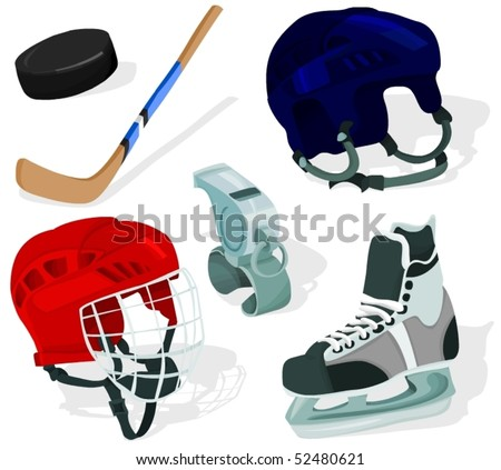 Set of a ice-hockey accessories - stock vector
