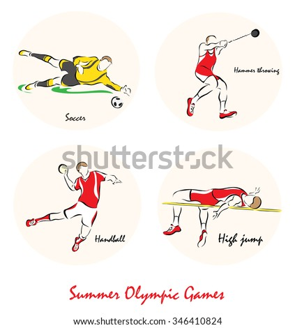 Set of a Illustration shows a Summer Olympic Sports. Hammer Throw, handball, high jump, soccer?