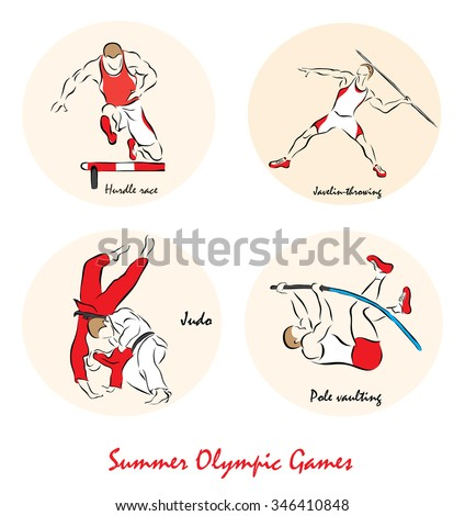 Set of a Illustration shows a Summer Olympic Sports. Steeplechase, javelin throwing, judo, high jump pole vault?