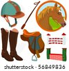 Set of a jockey accessories - stock vector