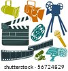 Set of a movie objects - stock vector