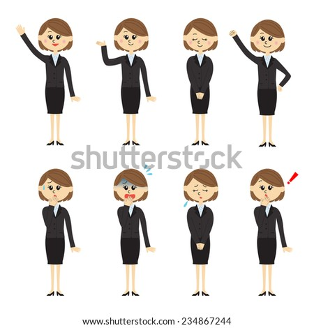 Set of a new employee, woman, vector illustration - stock vector