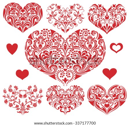 Set of a pattern in a shape of a heart. - stock vector