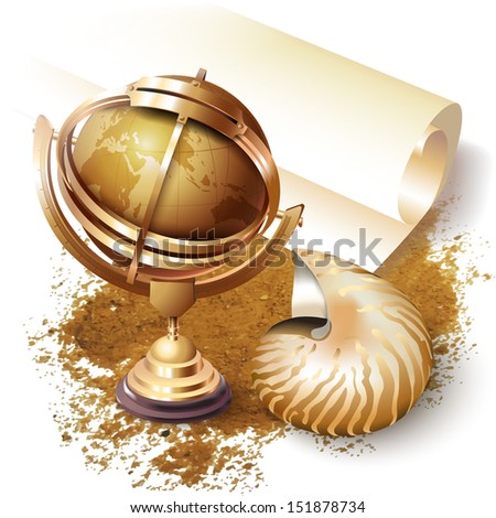 Set of a shell, navigation tools and a roll of paper, isolated on white background - stock vector