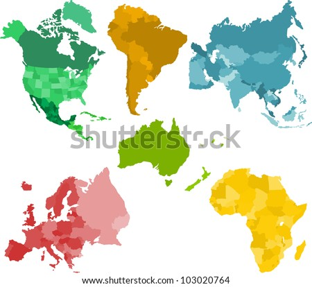 Set of a six silhouettes of a continents - stock vector