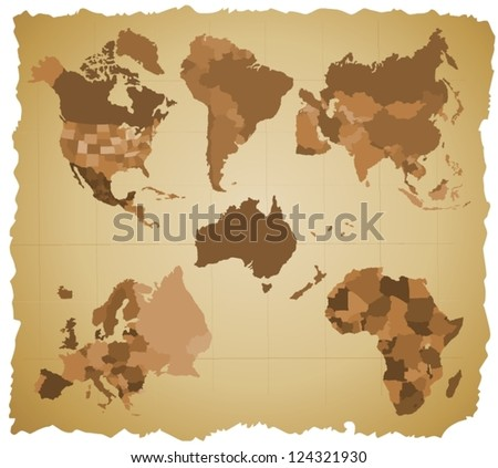 Set of a six silhouettes of a continents - B - stock vector
