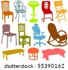 Set of a various chairs - stock vector
