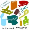 Set of a various office accessories B - stock vector