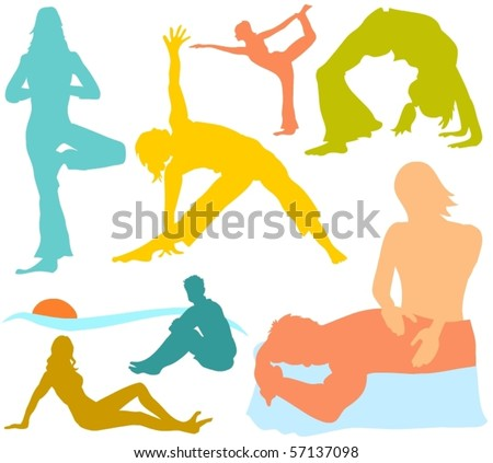 Set of a various people silhouettes B - stock vector