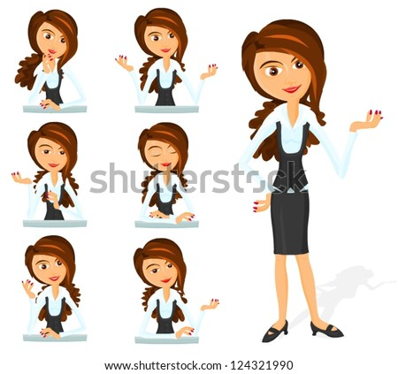 Set of a various woman poses - A - stock vector