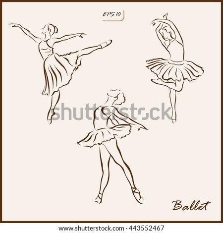 Set of a vector Illustration shows a girl is engaged in ballet