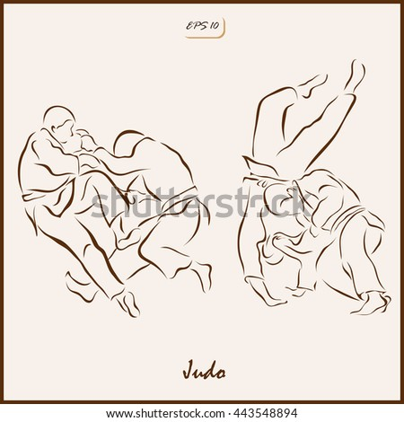 Set of a vector Illustration shows a Judo