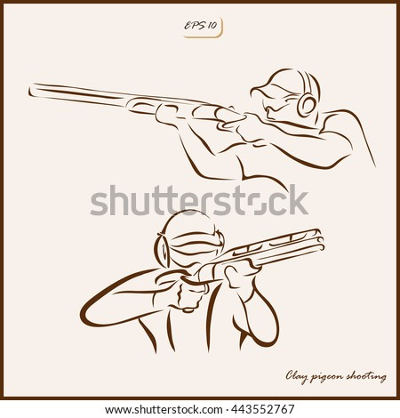 Set of a vector Illustration shows a kind of sport. Clay pigeon shooting