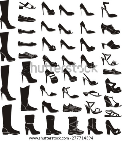 set of a woman shoe silhouettes