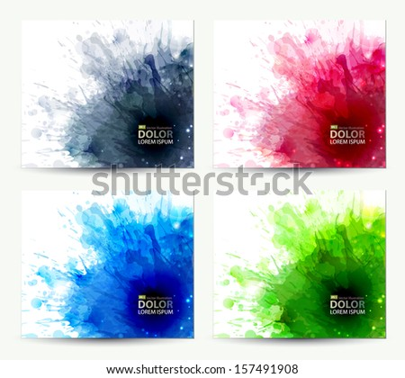 set of abstract artistic element forming by blots  - stock vector