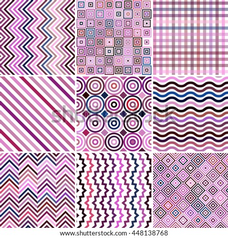 Set of abstract background, 9 geometric pattern, vector illustration. Texture can be used for printing onto fabric and paper. Pink, purple, white colors.  - stock vector