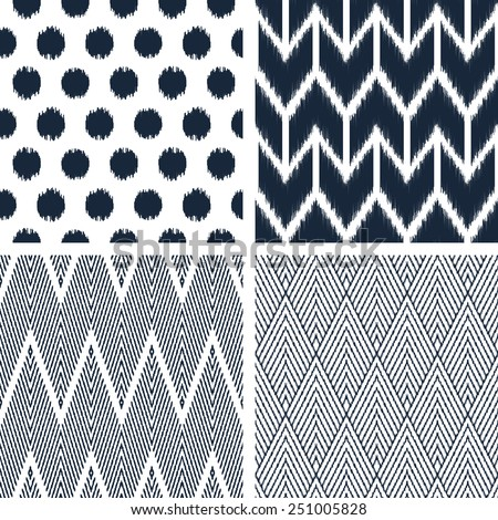 Set of abstract background. Modern seamless patterns in black and white colors for textile and wallpaper. Vector illustration. - stock vector