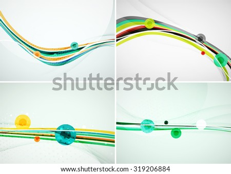 Set of abstract backgrounds. Elegant colorful decorated lines and waves with copy space for your message. Banner advertising layouts - templates and wallpapers - stock vector
