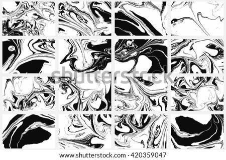 Set of abstract backgrounds. Ink marbling textures. Black and white. Hand drawn marble illustrations, ebru aqua paper and silk prints. Traditional Turkish ebru technique. Painting on water.