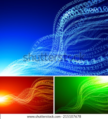 Set of abstract backgrounds with binary waves EPS10 transparency effects. RGB. Organized by layers Global colors. Gradients used - stock vector