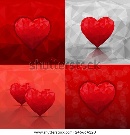 Set of abstract backgrounds with hearts in modern triangle style. Vector illustration  - stock vector