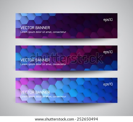 Set of abstract banners collection with futuristic molecular, hexagonal background. Modern geometric polygonal style. Business design