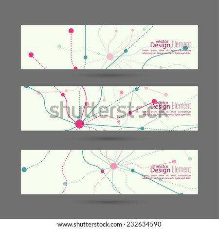 Set of abstract banners.  header.  molecule structure. Science and connection concept. Social network. nerve endings. for mobile app, websites, ad - stock vector