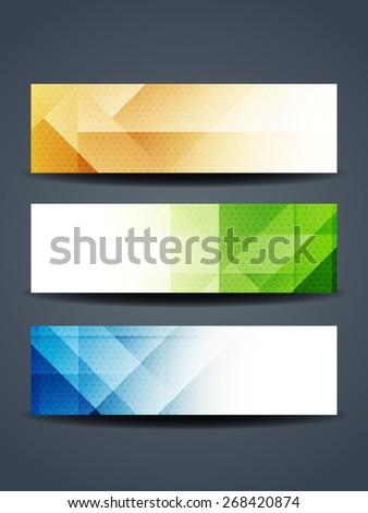 Set of abstract beautiful web header/banner designs. - stock vector