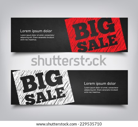 Set of abstract big sale background banners with chalkboard style, clean and modern design. Vector eps 10  - stock vector