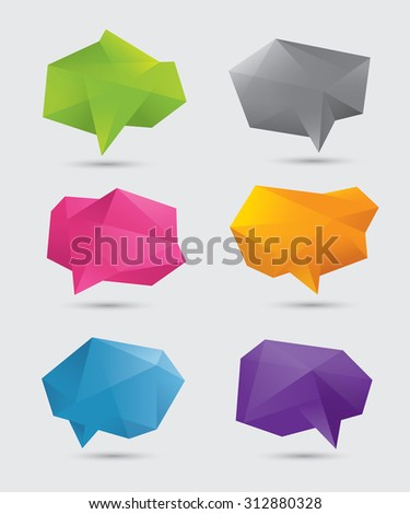 Set of abstract blank colorful polygonal 3d speech bubbles. Isolated on light gray background. EPS10 - stock vector