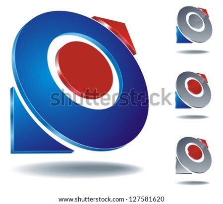 set of abstract blue and grey compass icons with blue and red arrows
