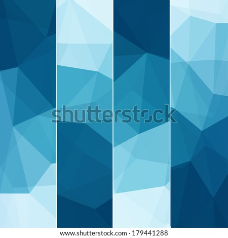 Set of Abstract Blue Triangle Geometrical Backgrounds., Vector Illustration EPS10 - stock vector
