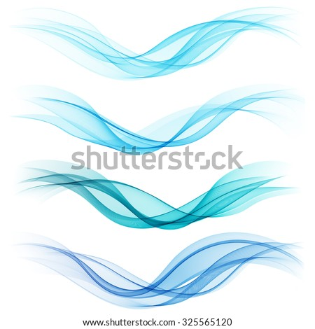 Set of abstract blue waves. Vector illustration EPS 10 - stock vector