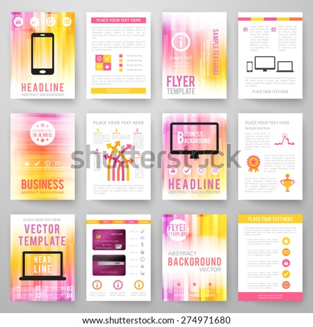 Set of abstract bright background for flyer, brochure template. Vector illustration for modern design. Mobile technologies, applications and online services infographic concept. - stock vector