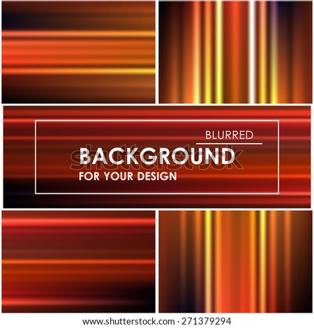 Set of abstract bright orange backgrounds blurry and striped - stock vector