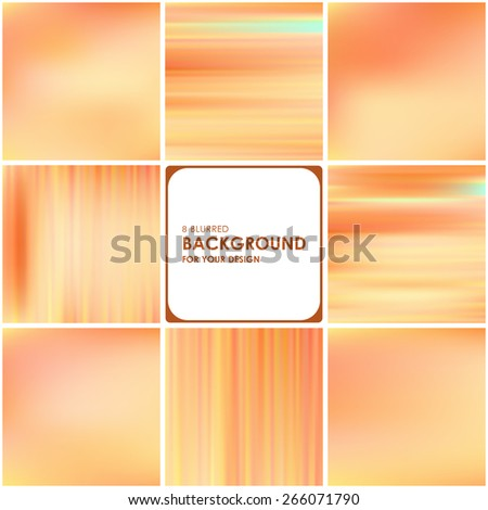 Set of abstract bright pink-orange blurred and striped backgrounds  - stock vector