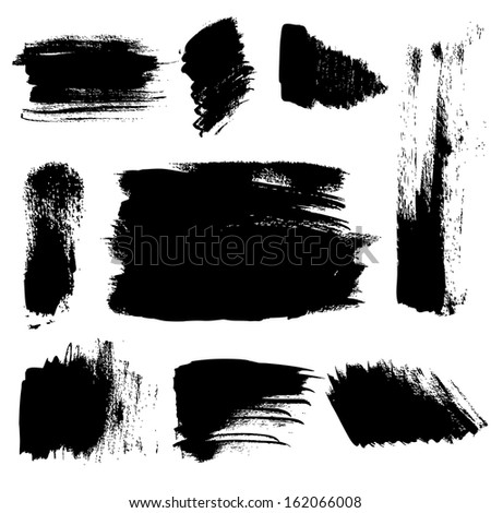 Set of abstract brush strokes on paper. Vector - stock vector