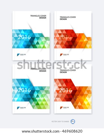 Set of abstract business brochure template, cover design for report in A4 with dynamic polygonal arrows and geometric triangle shapes on white background. Vector.