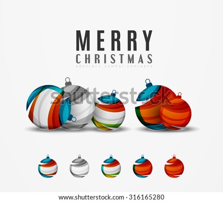 Set of abstract Christmas ball icons, business logo concepts, clean modern geometric design. Created with transparent abstract lines - stock vector