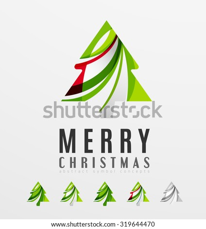 Set of abstract Christmas Tree Icons, business logo concepts, clean modern glossy design. Created with transparent abstract lines