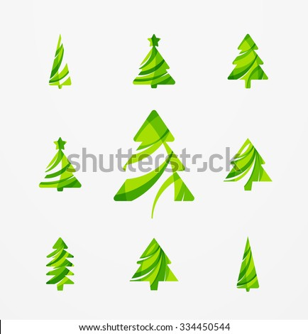 Set of abstract Christmas Tree Icons, business logo concepts, clean modern glossy design. Created with transparent abstract lines - stock vector