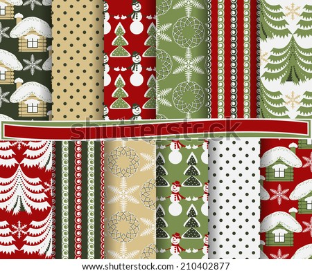 set of abstract Christmas vector paper for scrapbook