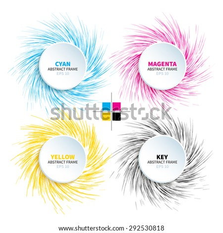 Set of 4 abstract circle frame symbolizing palette CMYK with spiral curled color on the white background - stock vector
